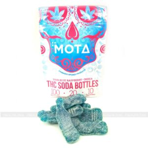 MOTA's Blue Sour Raspberry THC Soda Bottles