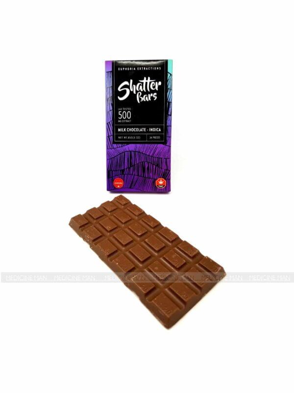 Euphoria Extractions Indica Shatter Milk Chocolate Bar
